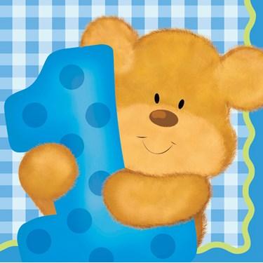 Bear's 1st Birthday Boy Beverage Napkins