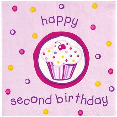 Girl's Lil' Cupcake 2nd Birthday Lunch Napkins