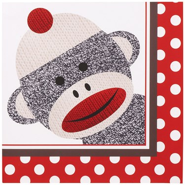 Sock Monkey Red Lunch Napkins