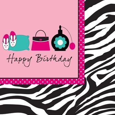 Pink Zebra Boutique Happy Birthday Lunch Napkins
