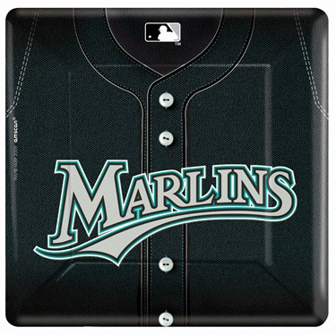 Florida Marlins Baseball Square Banquet Dinner Plates