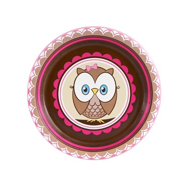 Look Whoo's 1 Pink Dessert Plates