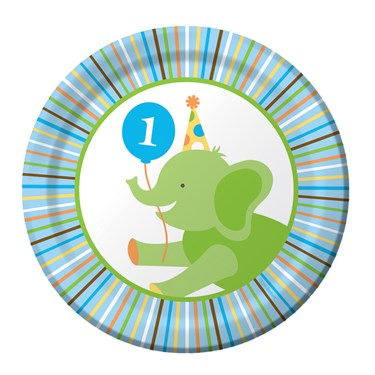 Sweet Safari Blue 1st Birthday Dessert Plates