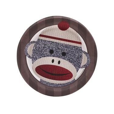 Sock Monkey Red Dessert Plates