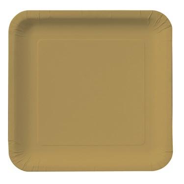 Glittering Gold (Gold) Square Dessert Plates