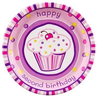 Girl's Lil' Cupcake 2nd Birthday Dinner Plates