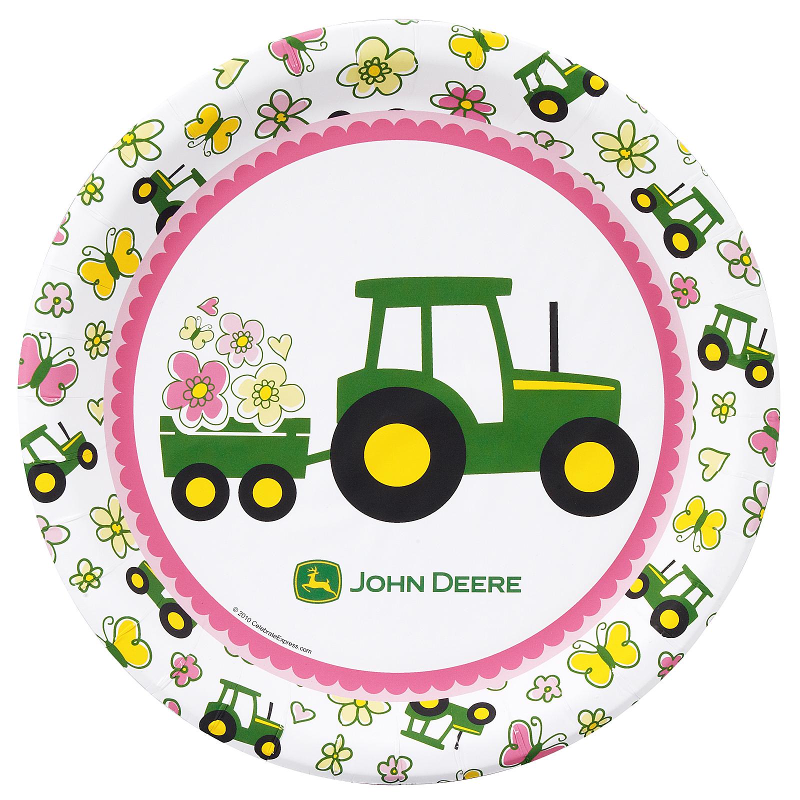 Pink John Deere Tractor Clip Art John deere pink dinner platesPink John Deere Tractor