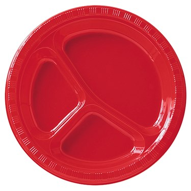 Classic Red (Red) Plastic Divided Dinner Plates
