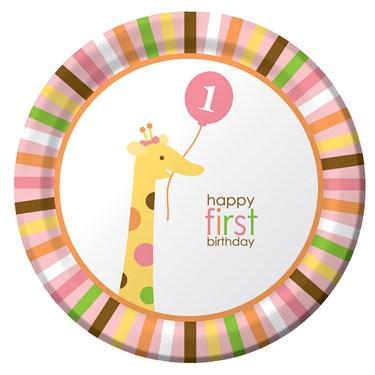 Sweet Safari Pink 1st Birthday Dinner Plates