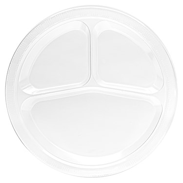 Clear Plastic Divided Dinner Plates