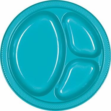 Caribbean Blue Plastic Divided Banquet Dinner Plates