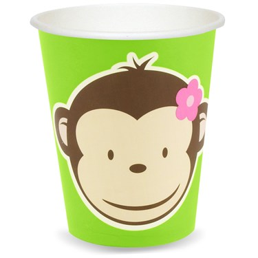 Pink Mod Monkey 9 oz. Paper Cups