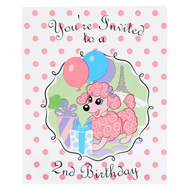 Pink Poodle in Paris 2nd Birthday Invitations