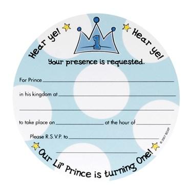 Lil' Prince 1st Birthday Invitations