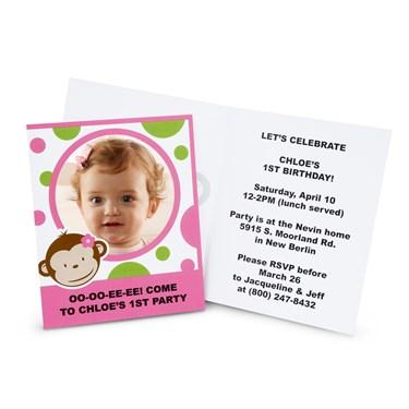 Pink Mod Monkey Personalized Invitations