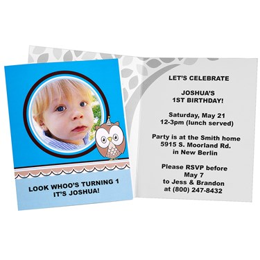 Look Whoo's 1 - Blue Personalized Invitations (8)