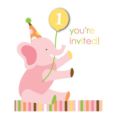 Sweet Safari Pink 1st Birthday Invitations
