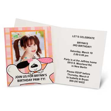 Playful Puppy Pink Personalized Invitations (8)