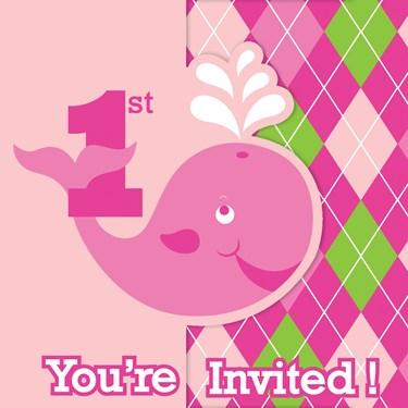 Ocean Preppy Girl 1st Birthday Invitations