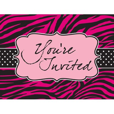 Pink Zebra Boutique Invitation Postcards