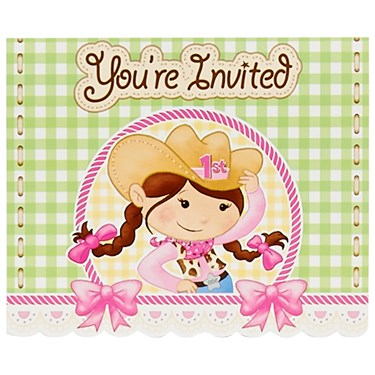 Pink Cowgirl 1st Birthday Invitations (8)