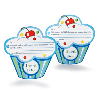 Boy's Lil' Cupcake 1st Birthday Thank-You Notes