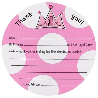 Birthday Princess 1st - Thank-You Notes