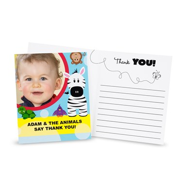 Safari Friends 1st Birthday Personalized Thank-You Notes