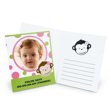 Pink Mod Monkey Personalized Thank-You Notes
