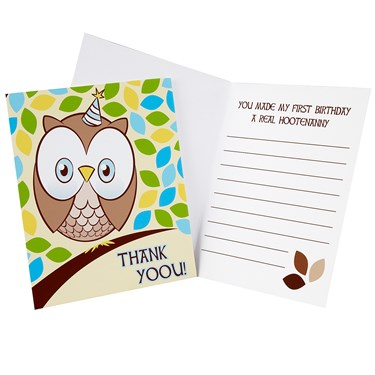 Look Whoo's 1 - Blue Thank-You Notes