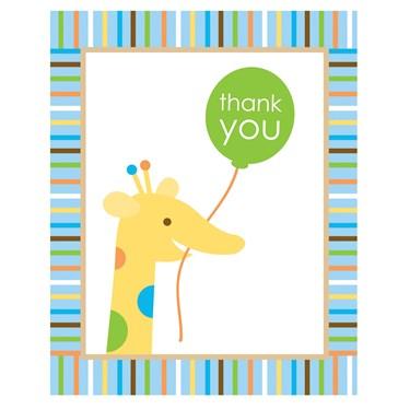 Sweet Safari Blue 1st Birthday Thank-You Notes