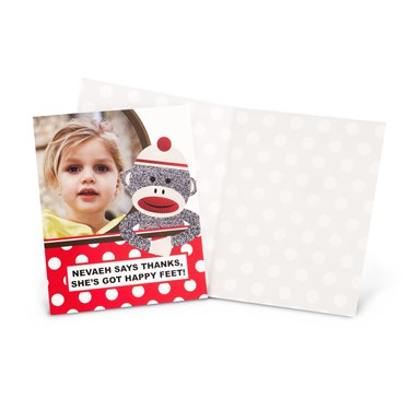Sock Monkey Red - Personalized Thank-You Notes