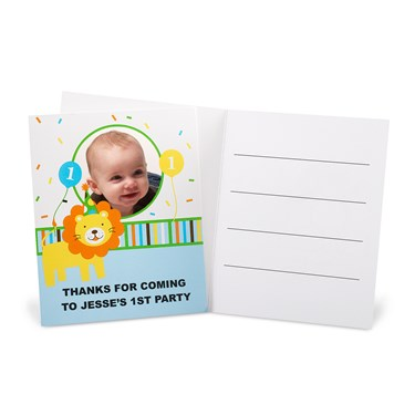Sweet Safari Blue 1st Birthday Personalized Thank-You Notes