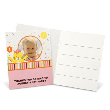 Sweet Safari Pink 1st Birthday Personalized Thank-You Notes