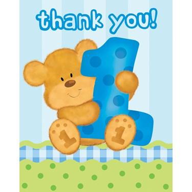 Bear's 1st Birthday Boy Thank-You Notes