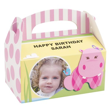 Hippo Pink Personalized Empty Favor Boxes (8)