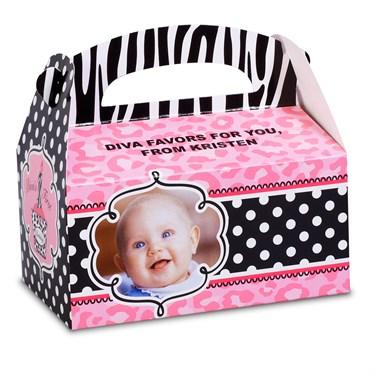 Diva Zebra Print 1st Birthday Personalized Empty Favor Boxes