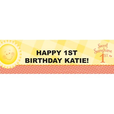 Little Sunshine Party - 1st Birthday Personalized Banner