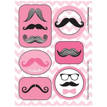 Pink Mustache Sticker Sheets (4)