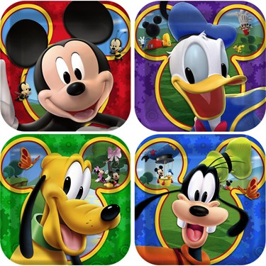 Disney Mickey Playtime Square Dessert Plates Assorted (8)