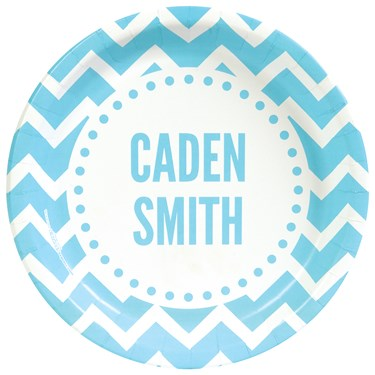Chevron Blue Personalized Text Dinner Plates (8)