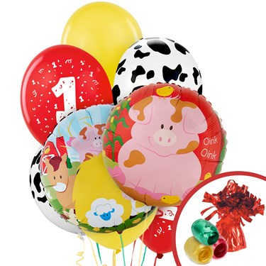 Barnyard 1st Birthday Balloon Bouquet