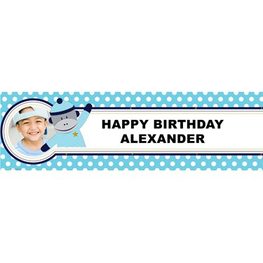 Sock Monkey Blue Personalized Photo Banner
