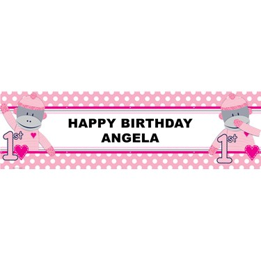 Sock Monkey Pink 1st Birthday Personalized Banner