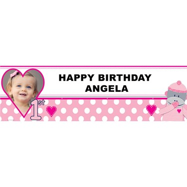 Sock Monkey Pink Personalized Photo Vinyl Banner