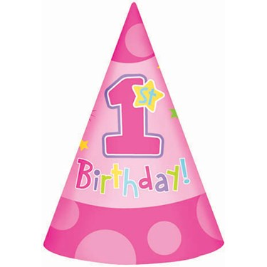 Hugs & Stitches Girl's 1st Birthday Cone Hats