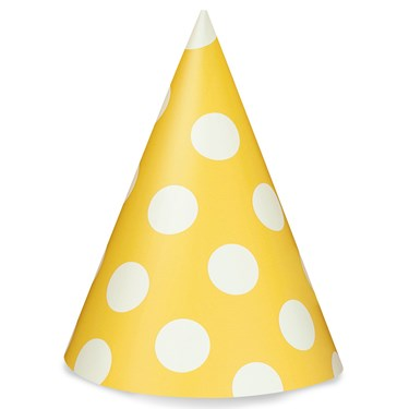 Sunflower Yellow with White Polka Dots Cone Hats