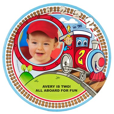 Two-Two Train 2nd Birthday Personalized Dinner Plates