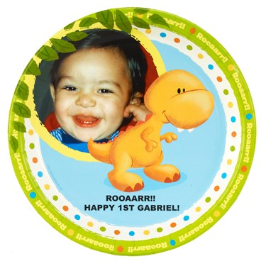 Little Dino 1st Birthday Personalized Dinner Plates