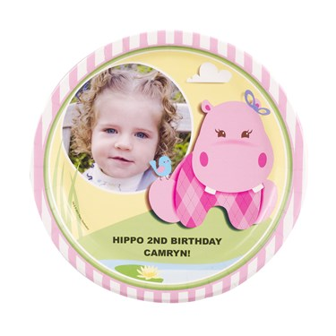 Hippo Pink Personalized Dinner Plates (8)